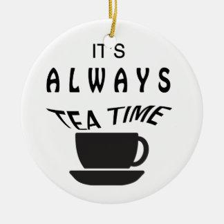Ornement Rond En Céramique Son toujours temps de thé