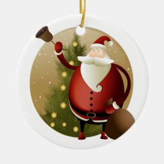 Ornement Rond En Céramique Sonnerie de Père Noël Bell de Noël