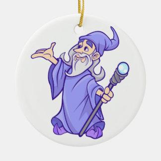 Ornement Rond En Céramique Sorcière pourpre magique de magicien de magicien