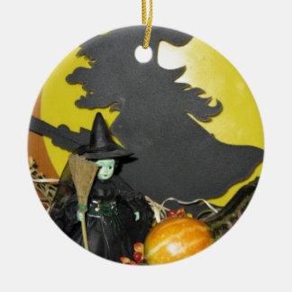 Ornement Rond En Céramique Sorcières de Halloween