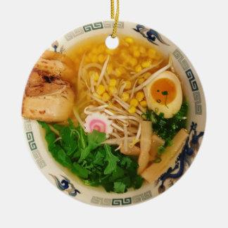 Ornement Rond En Céramique Soupe de nouilles de Ramen de porc