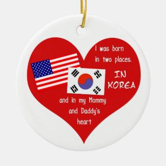 Ornement Rond En Céramique Soutenu dans deux endroits - souvenir coréen