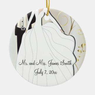 Ornement Rond En Céramique Souvenir de mariage de jeunes mariés