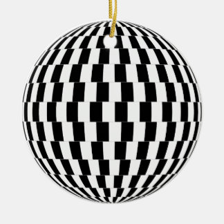 Ornement Rond En Céramique Sphère d'illusion optique de damier