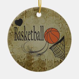 Ornement Rond En Céramique Sport grunge de basket-ball