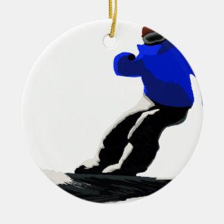 Ornement Rond En Céramique Sports d'hiver