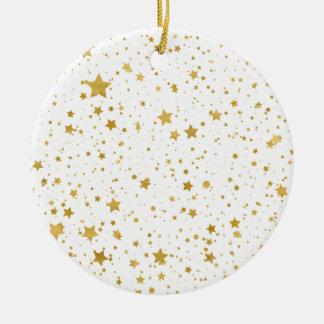 Ornement Rond En Céramique Stars2 d'or - Blanc pur