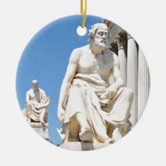 Ornement Rond En Céramique Statue du philosophe grec