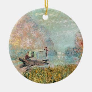 Ornement Rond En Céramique Studio de bateau de Claude Monet | sur la Seine