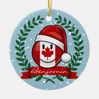 Ornement Rond En Céramique Style canadien gai de Noël de drapeau