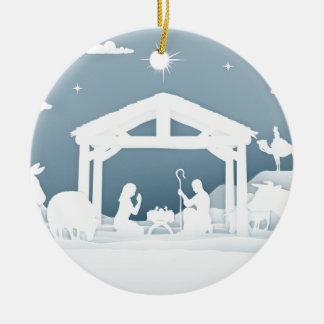 Ornement Rond En Céramique Style d'art de papier de scène de Noël de nativité