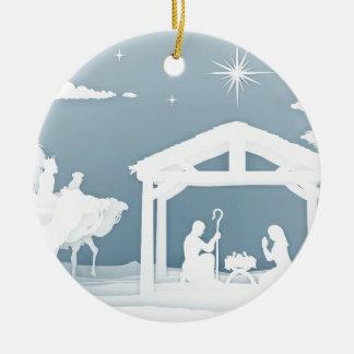 Ornement Rond En Céramique Style de Papercraft de scène de Noël de nativité