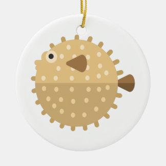 Ornement Rond En Céramique Style de primitif de poissons de Purcupine