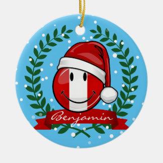 Ornement Rond En Céramique Style péruvien très de sourire de Noël de drapeau