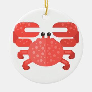 Ornement Rond En Céramique Style rose de primitif de crabe