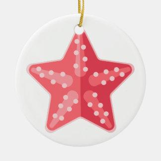 Ornement Rond En Céramique Style rose de primitif d'étoiles de mer