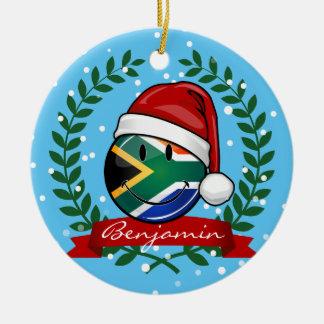 Ornement Rond En Céramique Style sud-africain de sourire de Noël de drapeau