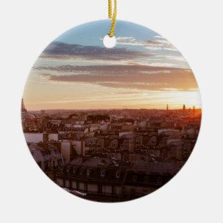 Ornement Rond En Céramique Sunset on the Eiffel tower, Paris, France