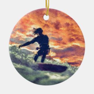 Ornement Rond En Céramique Surfer