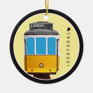 Ornement Rond En Céramique Symboles de tramway du Portugal - de Lisbonne