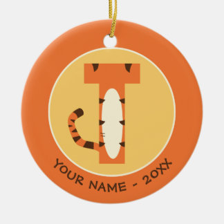 Ornement Rond En Céramique T est pour Tigger   ajoutent votre nom