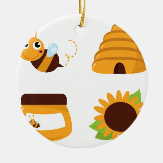 Ornement Rond En Céramique T-shirts avec la petites abeille et substance
