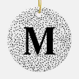 Ornement Rond En Céramique Taches dalmatiennes noires et blanches modernes