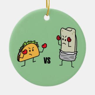 Ornement Rond En Céramique Taco contre le burrito
