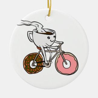 Ornement Rond En Céramique Tasse montant une bicyclette avec des roues de