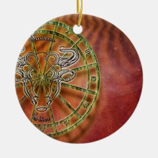Ornement Rond En Céramique taureau de signe de zodiaque