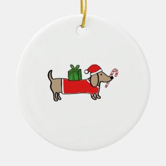 Ornement Rond En Céramique Teckel de Noël