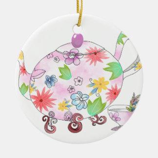 Ornement Rond En Céramique Tenir la fleur avec AMOUR