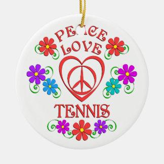 Ornement Rond En Céramique Tennis d'amour de paix
