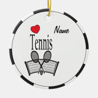 Ornement Rond En Céramique Tennis d'amour en noir et blanc
