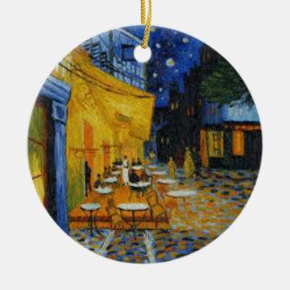 Ornement Rond En Céramique Terrasse de Café le nuit de Vincent Van Gogh