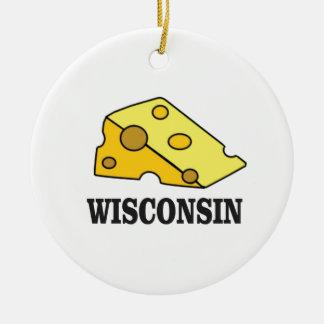 Ornement Rond En Céramique Tête de fromage du Wisconsin