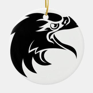 Ornement Rond En Céramique Tête d'Eagle dans le profil