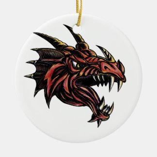Ornement Rond En Céramique Tête fâchée Scratchboard de dragon