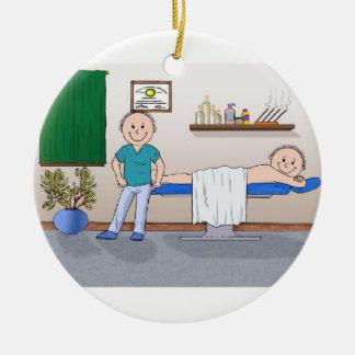 Ornement Rond En Céramique Thérapeute de massage - mâle, client masculin
