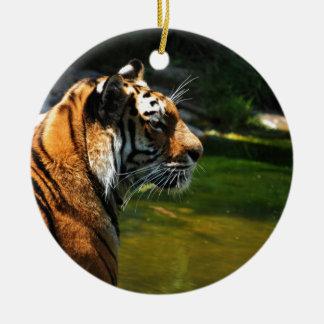 Ornement Rond En Céramique Tigre
