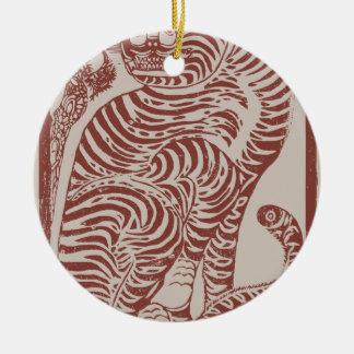 Ornement Rond En Céramique Tigre coréen d'art populaire