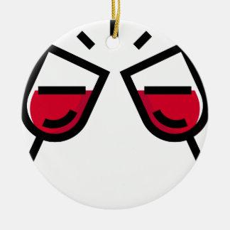 Ornement Rond En Céramique Tintement en verre de vin