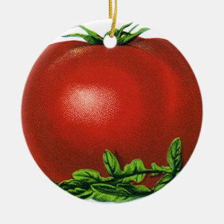 Ornement Rond En Céramique Tomate mûre rouge vintage, légumes et fruits