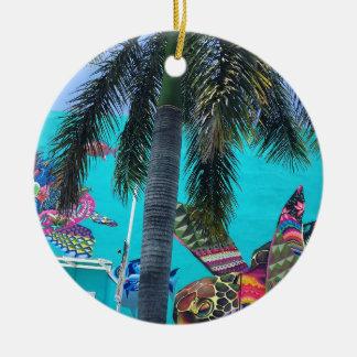 Ornement Rond En Céramique Tortue tropicale, paradis de palmier