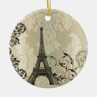 Ornement Rond En Céramique Tour Eiffel beige chic de Paris de damassé de Boho