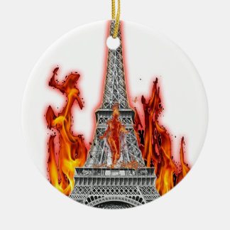 Ornement Rond En Céramique tour eiffel fire