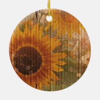 Ornement Rond En Céramique Tournesol jaune de Bohème de carton ondulé