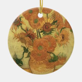 Ornement Rond En Céramique Tournesols de Vincent van Gogh |, 1889