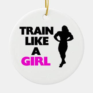 Ornement Rond En Céramique Train comme une fille