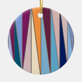 Ornement Rond En Céramique Triangles, bleu, pourpre et or modernes de la